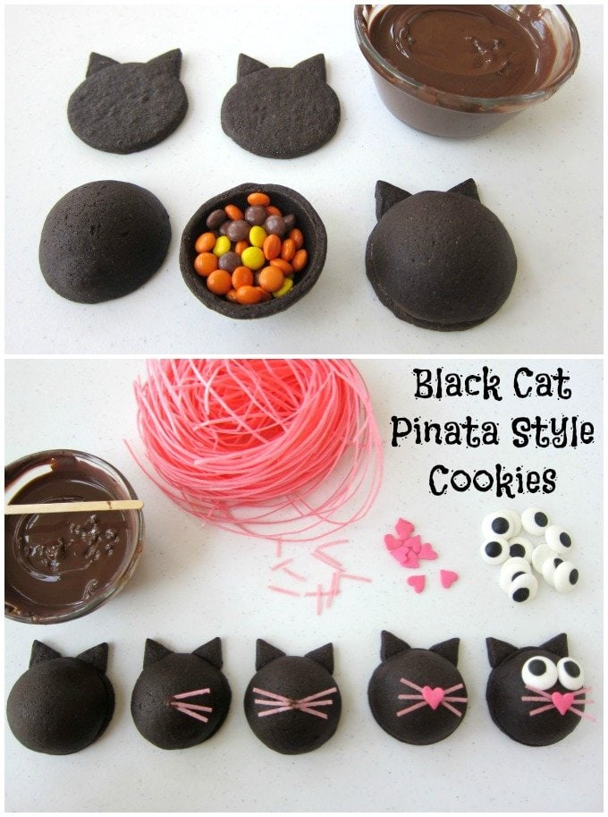 How to make Black Cat Pinata Style Cookies filled with Halloween candy. Tutorial at Hungry Happenings.