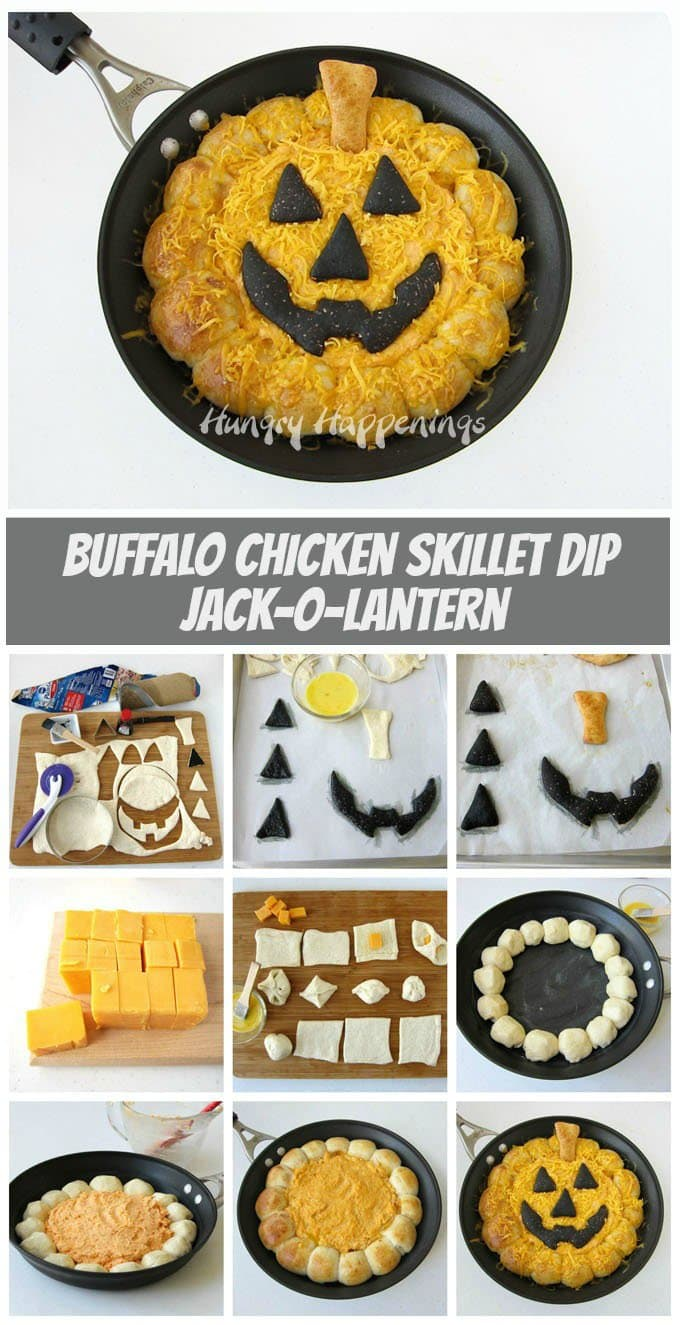 Heat up your Halloween by serving this Buffalo Chicken Skillet Dip Jack-O-Lantern. See the recipe at HungryHappenings.com.