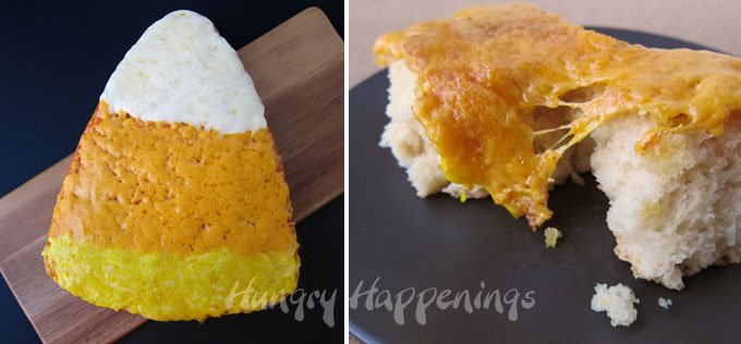 Candy Corn shaped cheese bread.