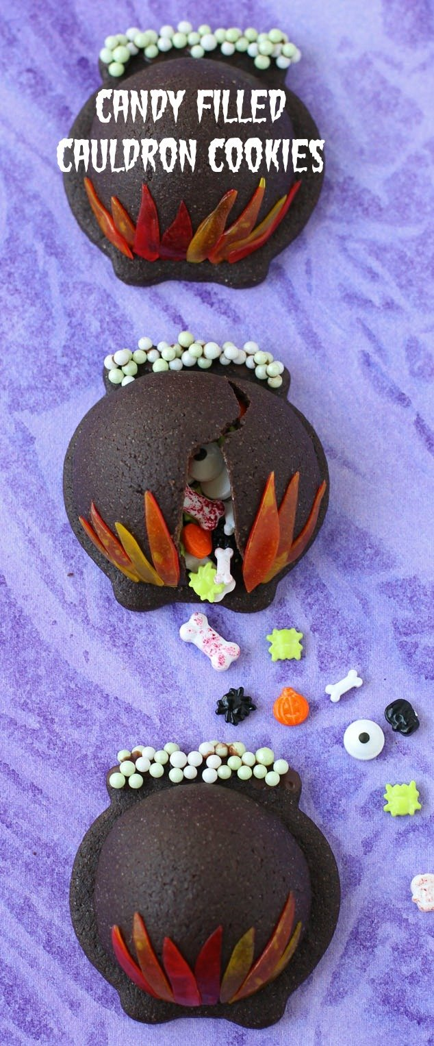 This Halloween you don't have to serve just cookies or just candy, these Candy Filled Cauldron Cookies combine them both. See the tutorial at HungryHappenings.com.