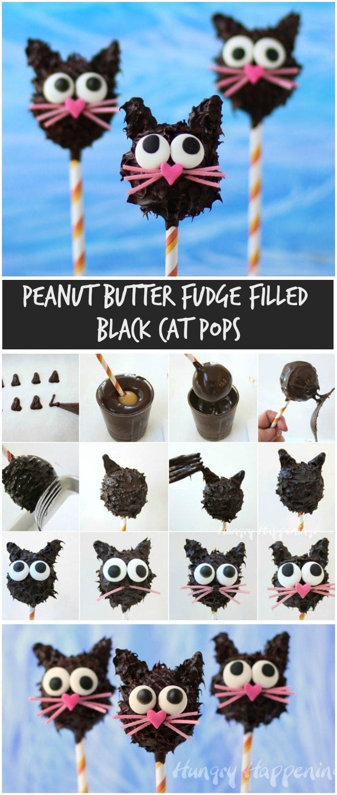 This Halloween turn lusciously creamy peanut butter fudge into adorably cute Peanut Buffer Fudge Filled Black Cat Pops. See how at HungryHappenings.com