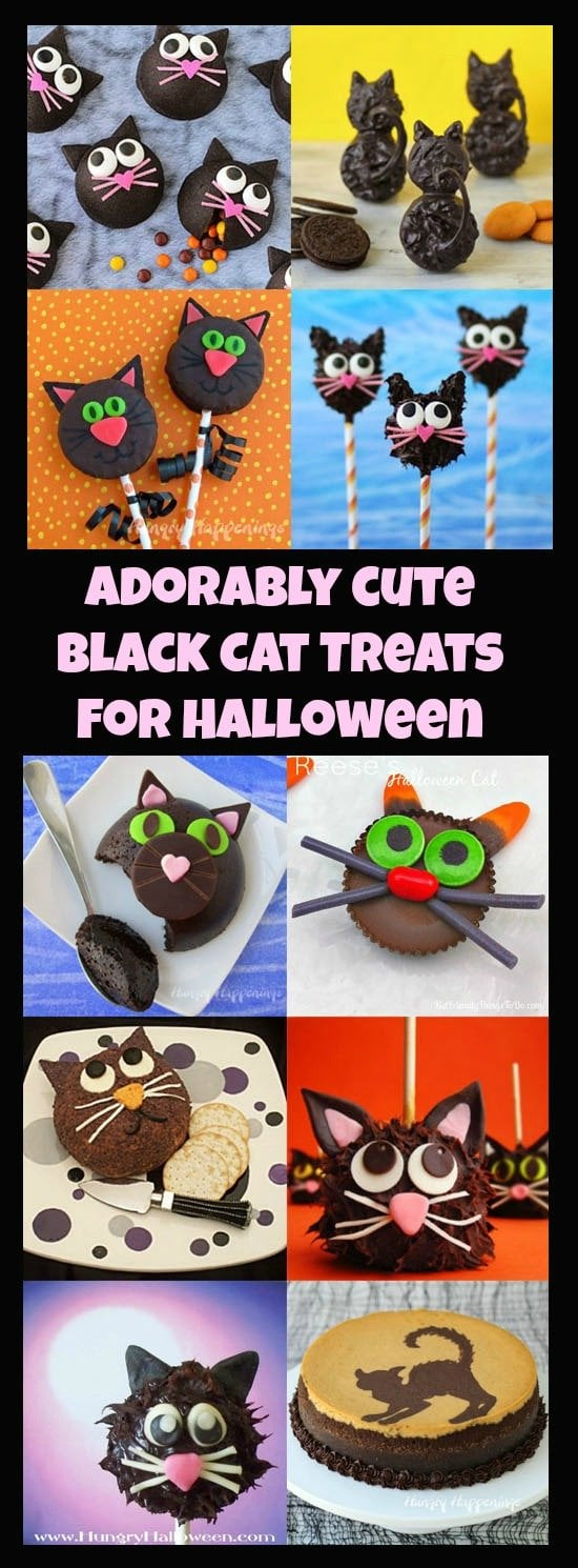 Adorably Cute Black Cat Treats are purr-fect for Halloween. See the tutorials at HungryHappening.com.