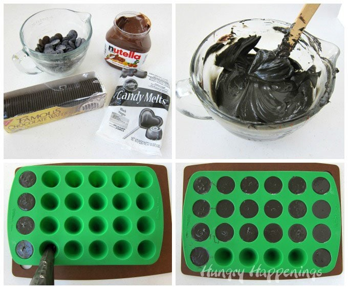 Use easy 2 ingredient Nutella Fudge to create Witch Hat Halloween treats. See the recipe at HungryHappenings.com.