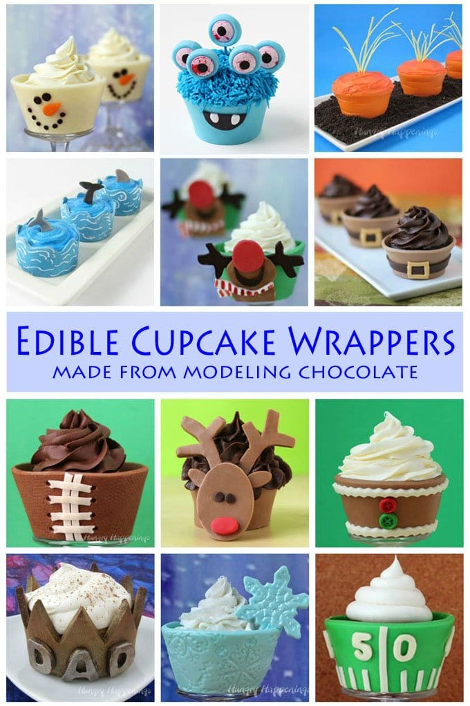 Make edible cupcake wrappers using modeling chocolate to make extra special cupcakes for holidays and special occasions.
