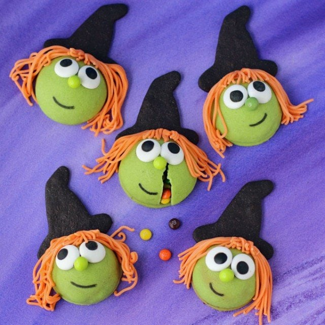 Crack open one of these bewitchingly cute Halloween treats to find candy hiding inside. You can make these Candy Filled Witch Cookies cute or Kooky. See how at Hungry Happenings.