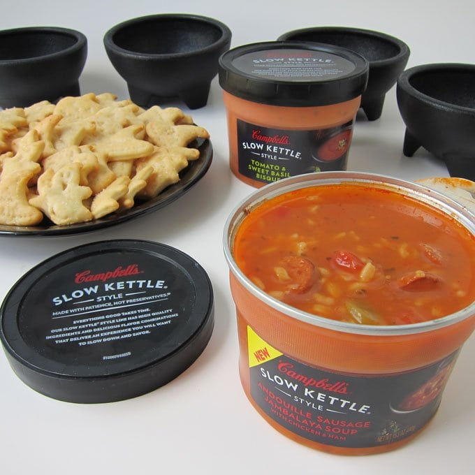 Campbell's Slow Kettle Soup with homemade Halloween crackers.