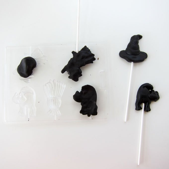 How to make Halloween lollipops using a 3 ingredient caramel modeling chocolate.