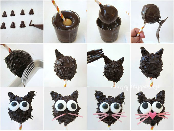 See the step-by-step tutorial for making and decorating Peanut Butter Fudge filled Black Cat Pops for Halloween at HungryHappenings.com.