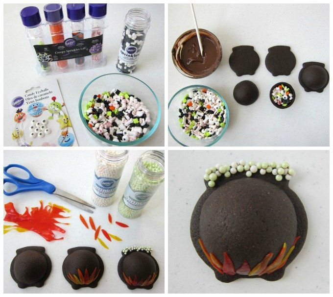 How to create candy filled cauldron cookies. Step-by-step tutorial is at HungryHappenings.com.