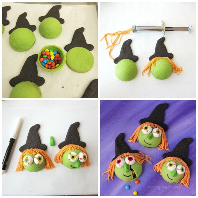How to make candy filled witch cookies for Halloween.