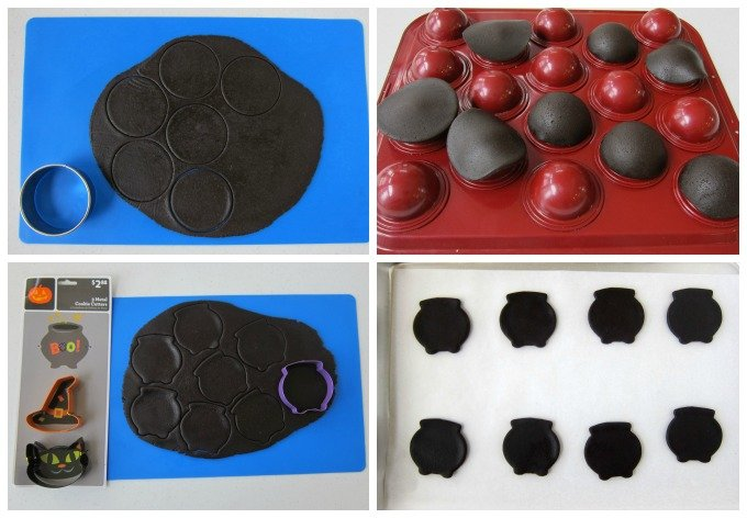 How to make Candy Filled Cauldron Cookies using a cake ball pan. See the tutorial at HungryHappenings.com.