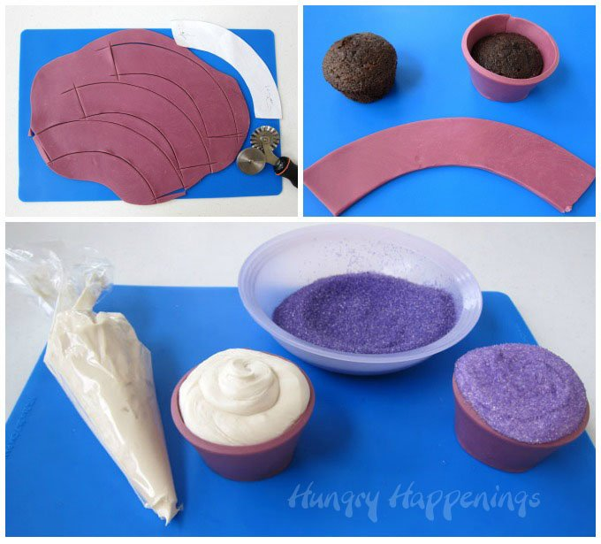 See the step-by-step tutorial to make edible cupcake wrappers using homemade modeling chocolate at HungryHappenings.com.
