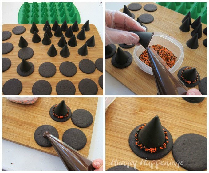 Use a simple 2 ingredient Nutella Fudge to make sweet little Witch Hats for Halloween. See the recipe at Hungry Happenings.