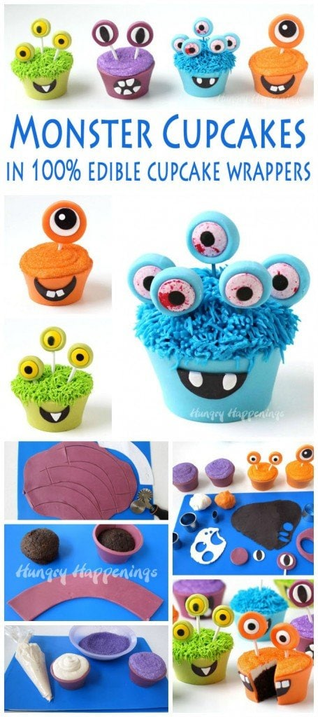 Make edible cupcake wrappers out of bright colored modeling chocolate and create these goofy Cupcake Monsters for Halloween. See the step-by-step tutorial at HungryHappenings.com.