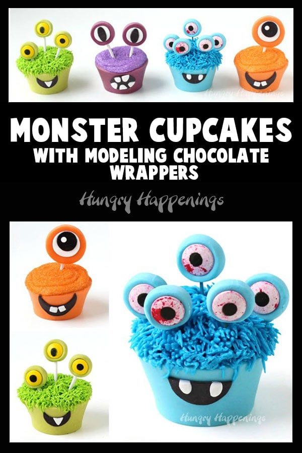 collage of images of orange, blue, vibrant green, and purple monster cupcakes with modeling chocolate wrappers and eyes