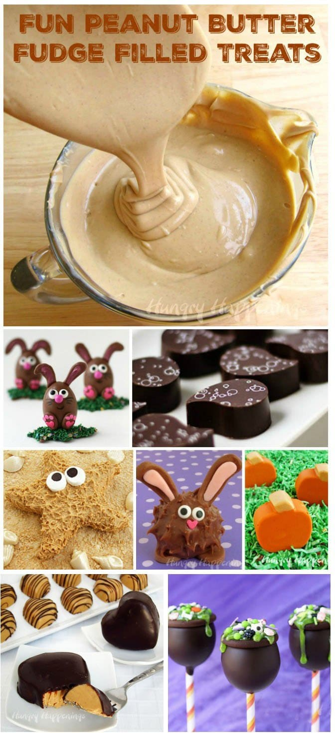 Peanut Butter Fudge filled Treats are fun to make for holidays and special occasions. See all the recipes at HungryHappenings.com.