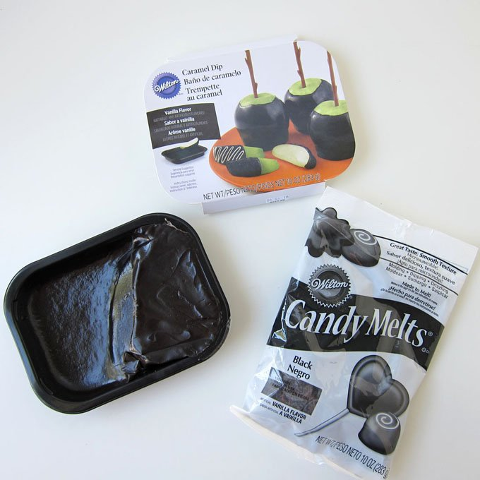 Wilton's Black Caramel mixed with Black Candy Melts makes a pliable candy that you can use to make Black Caramel Spiders for Halloween. See the recipe at HungryHappenings.com.