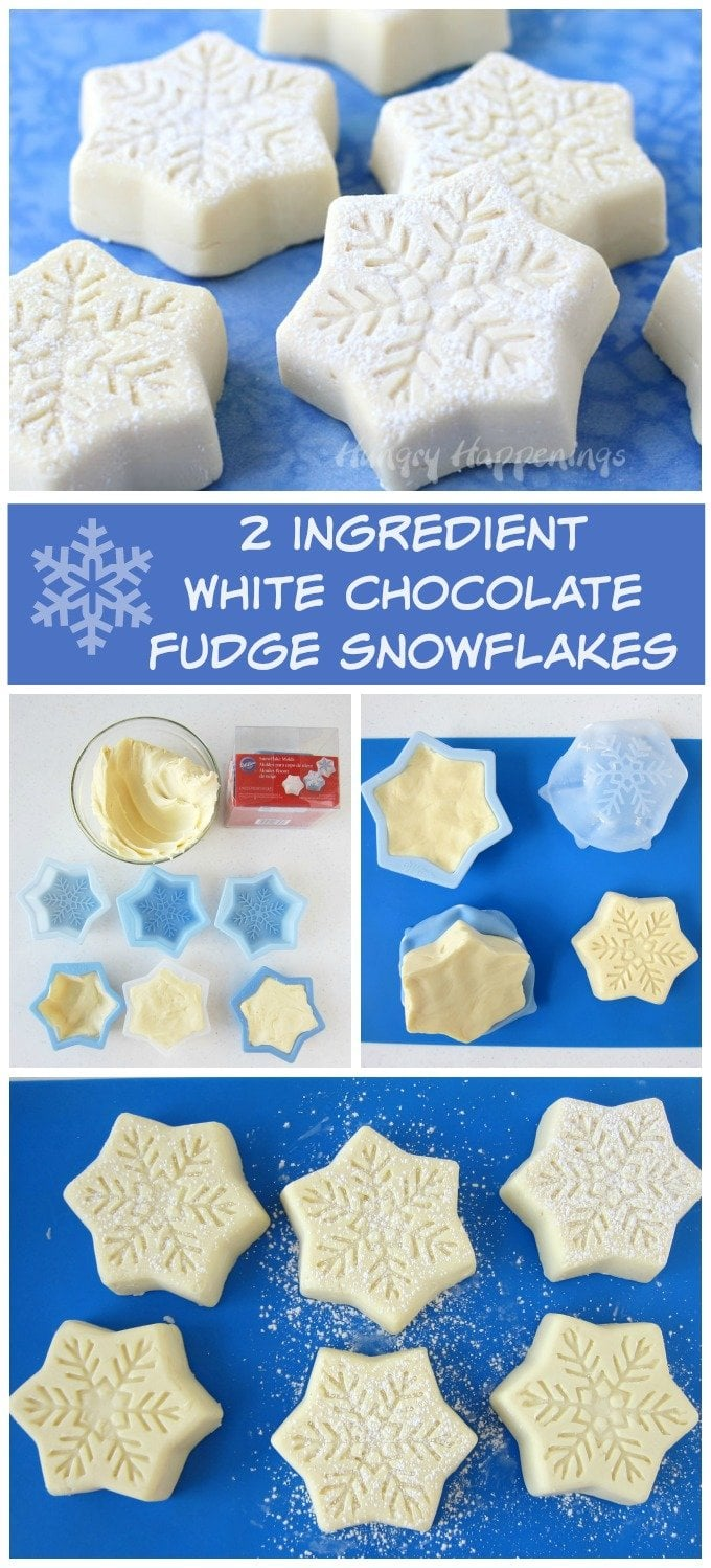 Make 2 ingredient white chocolate fudge snowflakes quickly and easily for Christmas. See the recipe at Hungry Happenings.