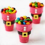 Easy Christmas treats for kids. These Santa Suit Candy Cups are made with a red ice cream cone and decorated with candy.