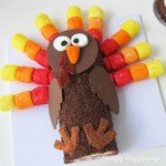 Add a pop of color to your Thanksgiving dessert table by serving a Chocolate Cake Roll Turkey decorated with brightly colored marshmallow pops, lots of chocolate sprinkles, and more.