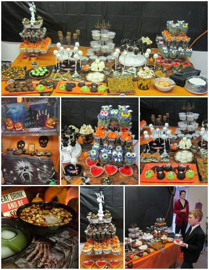 halloween decorated dessert table