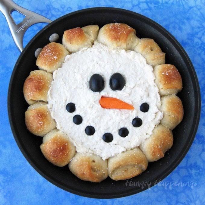 Christmas appetizer decorated like a cute snowman