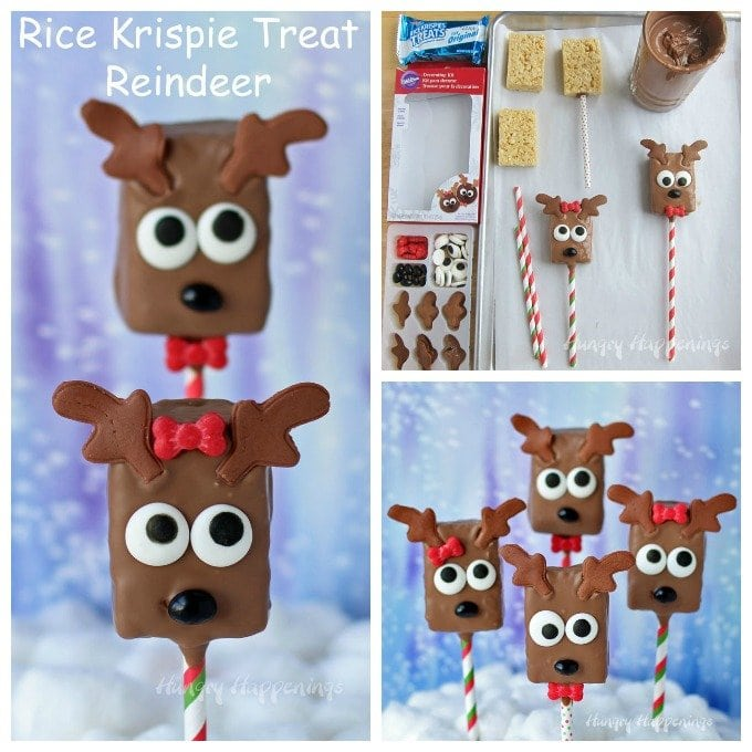 Create these Rice Krispie Treat Reindeer the easy way using a Wilton Decorating Kit. It has all the candy decorations you need to make cute girl and boy reindeer for Christmas.