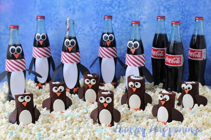 coca cola chocolate cake roll penguins and coke bottle penguins