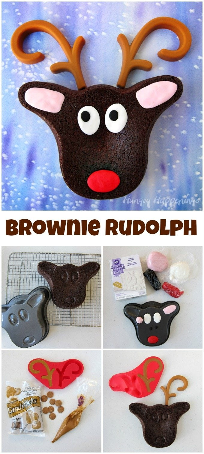 It's so easy to create an adorable Brownie Rudolph with Peanut Butter Candy Antlers using a new baking pan set from Wilton.