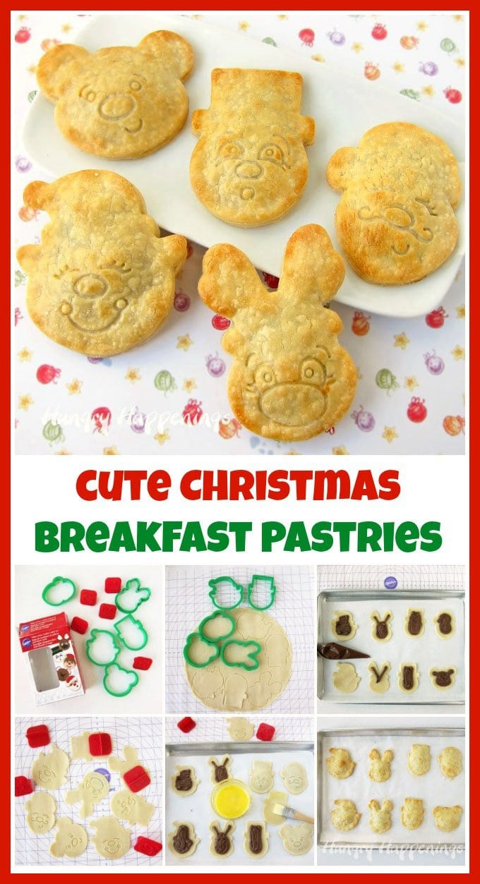 Use cookie cutters with cute face stamps to make these adorable Christmas pastries.