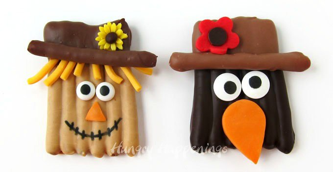 Chocolate Pretzel Scarecrows and Chocolate Pretzel Crows