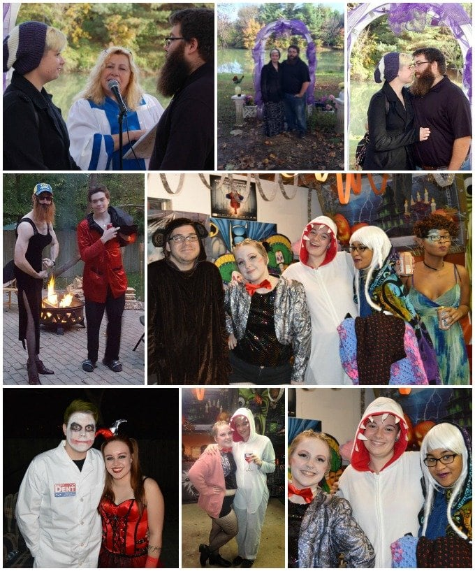 Casual outdoor Halloween wedding and party.