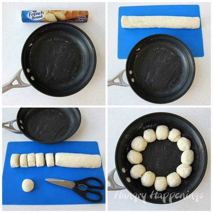 Use Pillsbury French Bread to create a skillet dip snowman. See how at HungryHappenings.com.