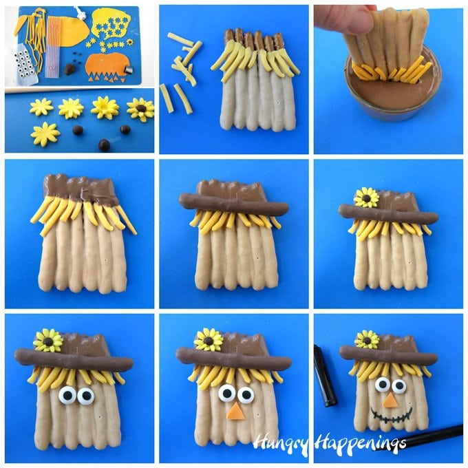 Learn how to make and decorate peanut butter and chocolate dipped pretzel scarecrows at HungryHappenings.com. These whimsical sweets make fun Thanksgiving treats.