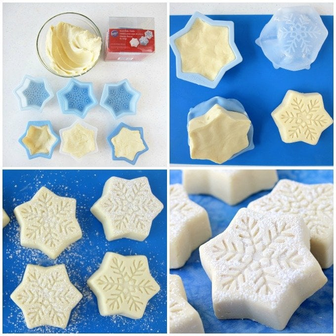 Whip up a 2 ingredient fudge recipe then mold it into pretty snowflakes to give as Christmas gifts.