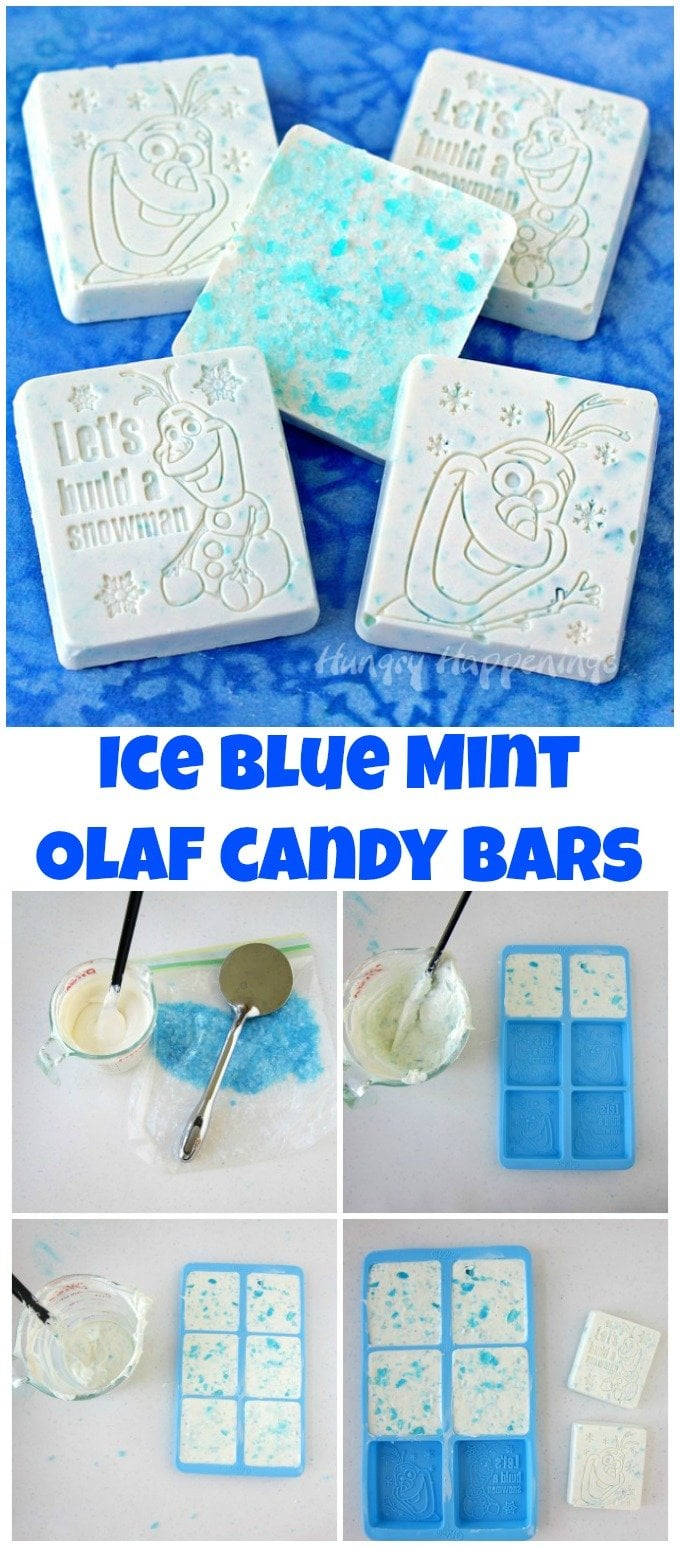 Ice Blue Mint Bark Olaf Candy Bars are simply made using a Wilton Disney Frozen Silicone Mold.