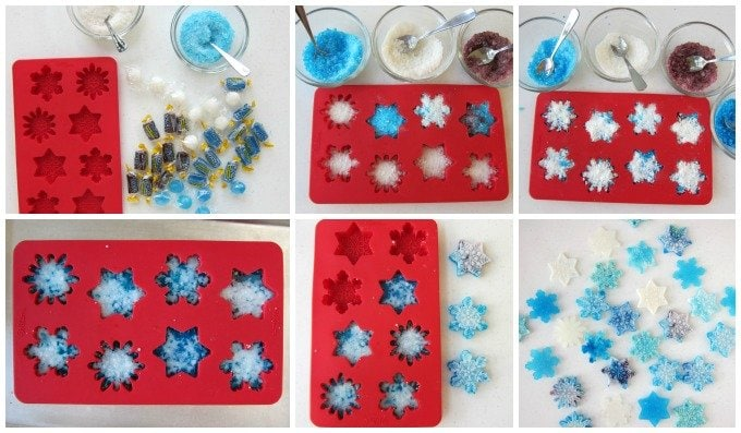 Melt hard candies in snowflake silicone molds to make simple Christmas treats.