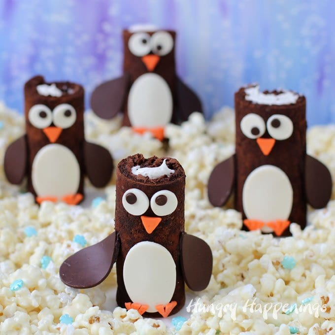Make homemade Coca-Cola Chocolate Cake Rolls then decorate them like adorable penguins.