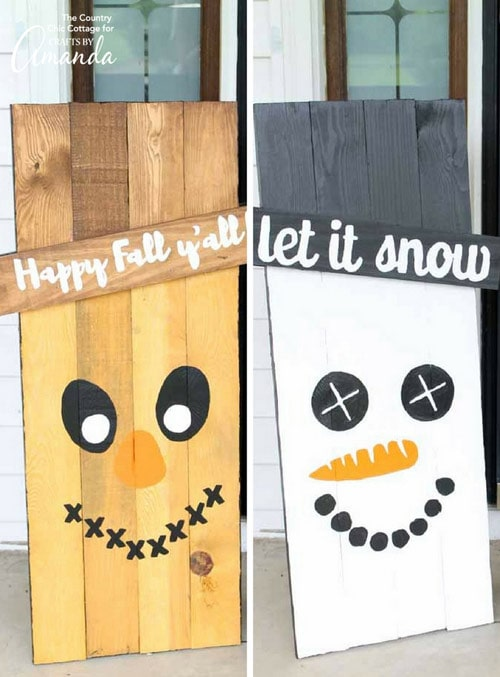 Reversible Scarecrow Snowman Pallet Craft