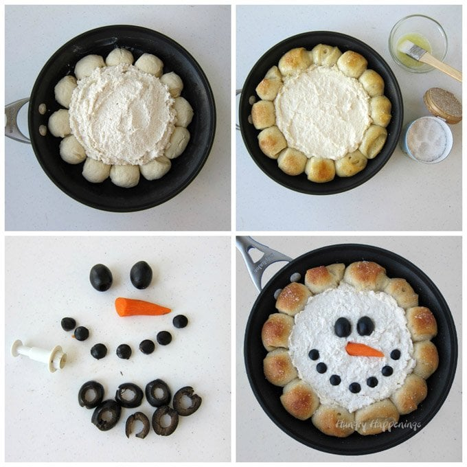 Grab your skillet to make this super simple Christmas appetizer. See how to create a Skillet Dip Snowman at HungryHappenings.com.