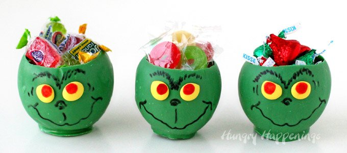 This Christmas create edible bowl that look like The Grinch then fill them with your favorite candies. See how they are made at HungryHappenings.com.