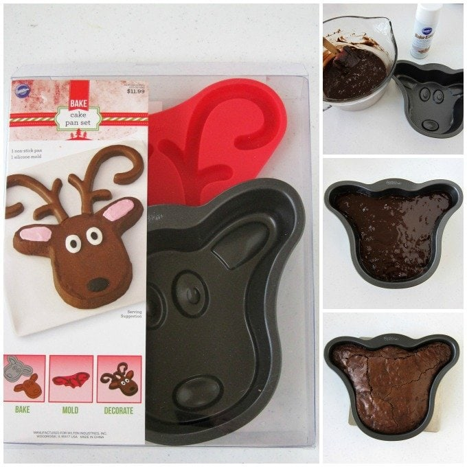 Use a Wilton Rudolph the Red Nose Reindeer Cake Pan Set to make an adorable Brownie Rudolph for your Christmas party.