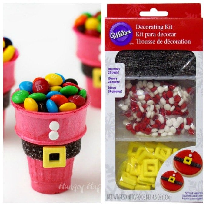 Use a Wilton Santa Belt Decorating Kit to create these cute and simple Santa Suit Candy Cups.