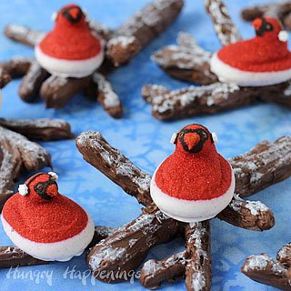 Red Cardinal PEEPS® Perching on Snow Covered Chocolate Caramel Pretzel Branches