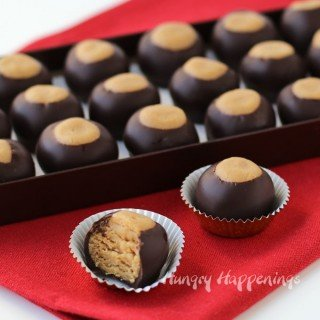 Turn peanut butter cake into Cake Ball Buckeyes to add a fun twist to your holiday candy plates.