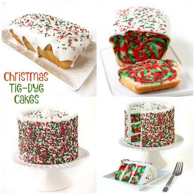 Cut into a slice of one these Christmas Tie-Dye Cakes to reveal red, white, and green, swirls. See the tutorials at HungryHappenings.com.