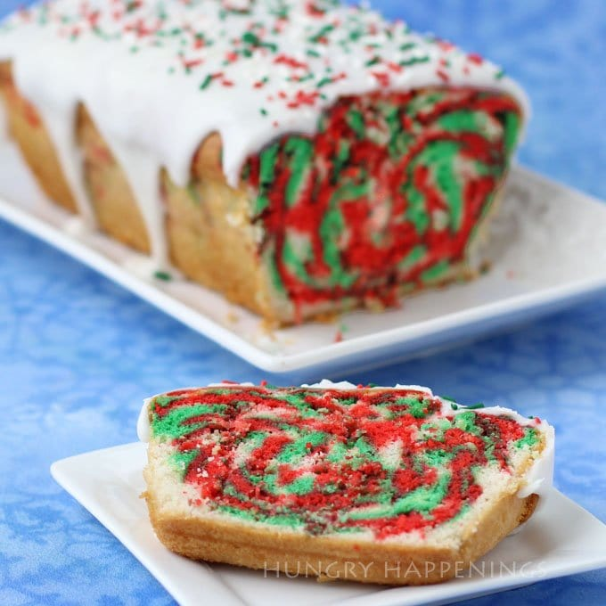 Red, White and Green Christmas Pound Cake topped with Sweet Glaze.