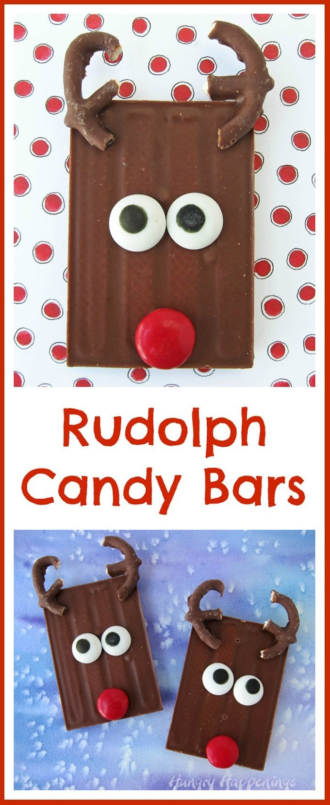 Turn store bought candy bars into Cute Christmas Treats in a snap. Just add two chocolate pretzel antlers, some candy eyes, and a shiny red nose and you have the sweetest Rudolph Candy Bars to give to friends and family this holiday season.