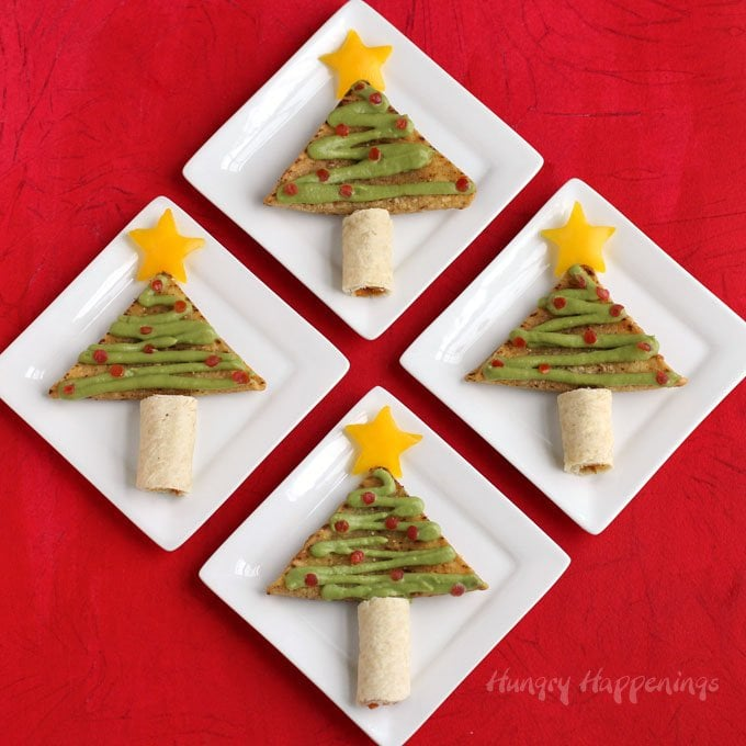 This Christmas have some fun in the kitchen decorating José Olé Taquitos and Nacho Bites to look like festive Christmas Tree Snacks. See how at HungryHappenings.com.