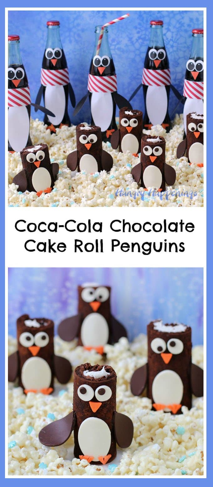 Host a penguin party this Christmas and serve adorable Coca-Cola Chocolate Cake Roll Penguins alongside some cute Penguin Coke Bottles.